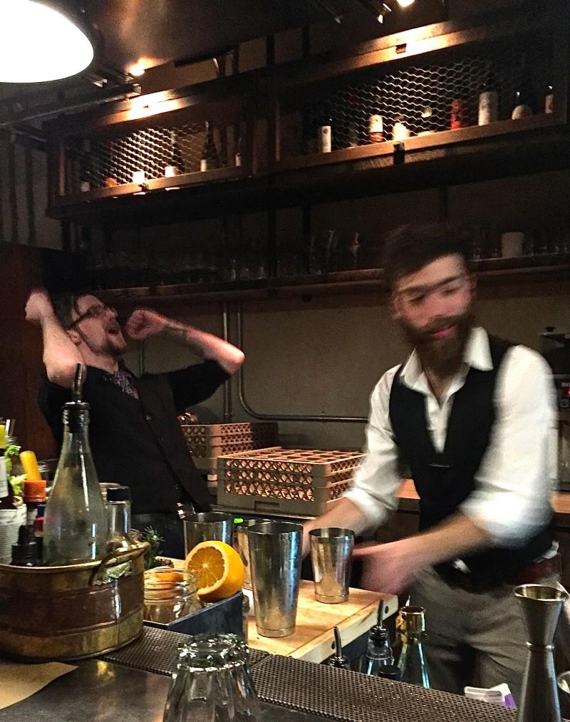 Bearded hijinks behind the bar