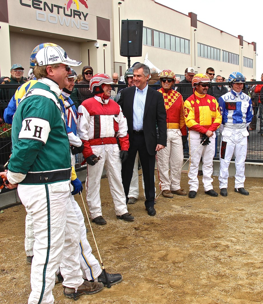 Jim Prentice and harness drivers, Century Downs