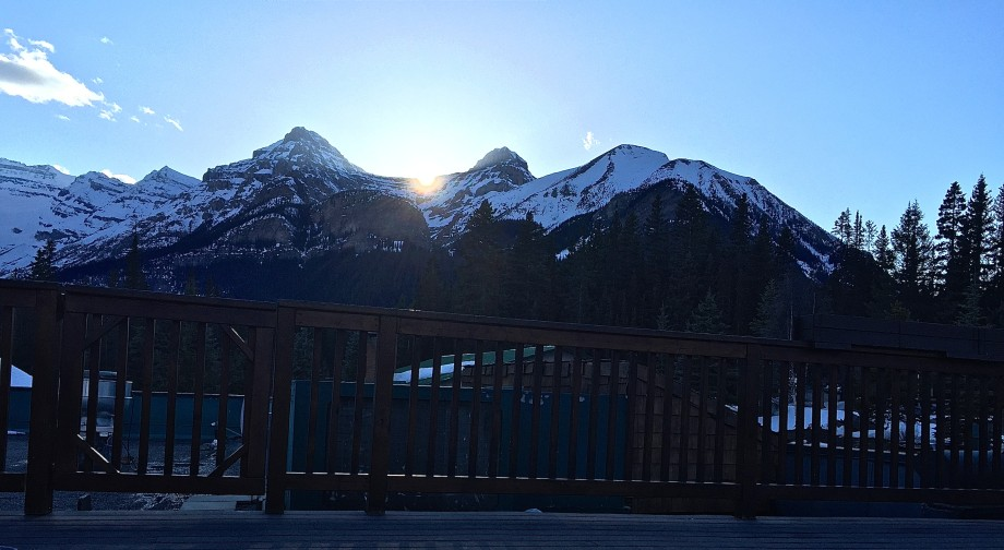view from the hot tub at Lake Louise's Deer Lodge