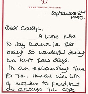 Card from Princess Diana